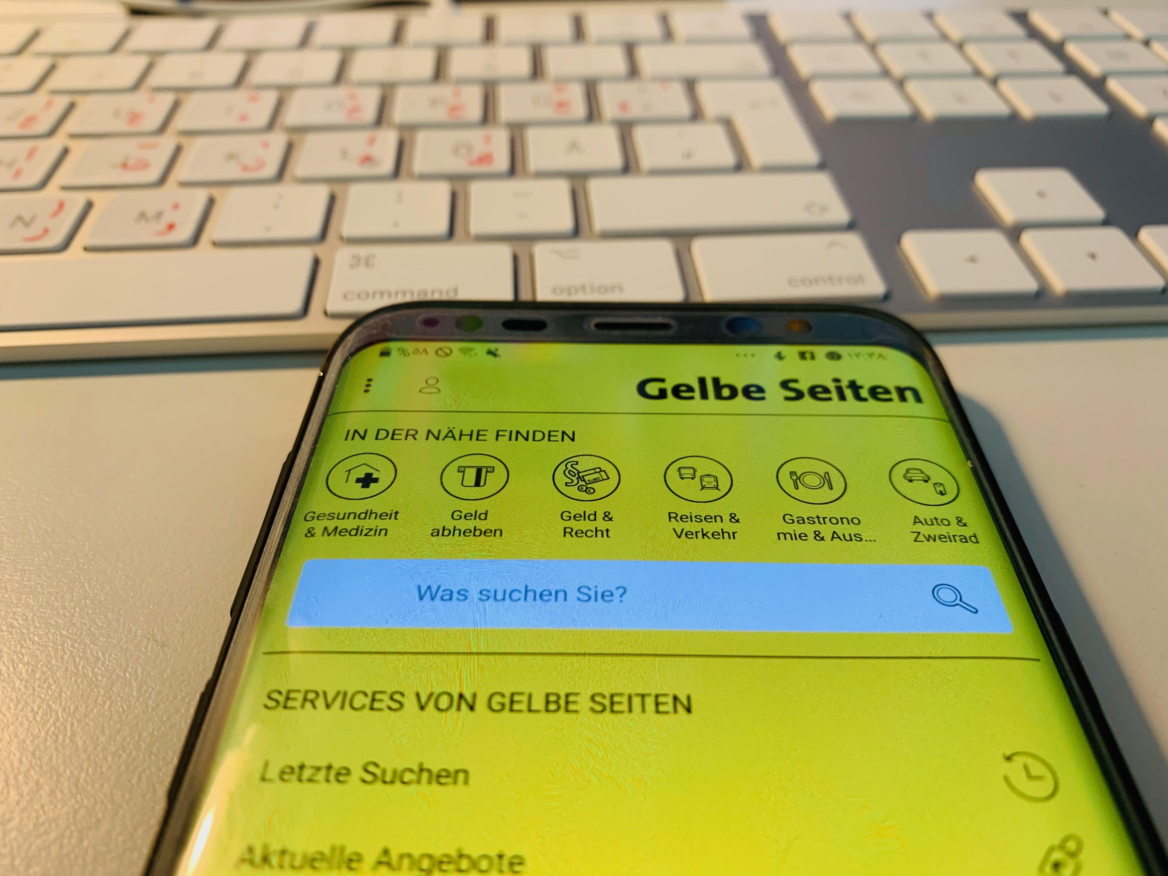 تطبيق الصفحة الصفراء Gelbe Seiten لإيجاد الدكاترة والمشافي في ألمانيا